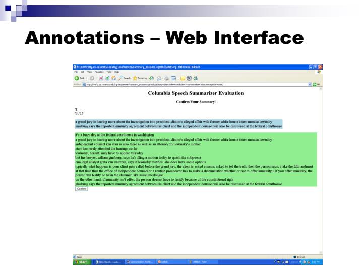 Annotations – Web Interface