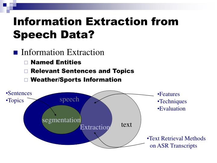 Information Extraction from Speech Data?