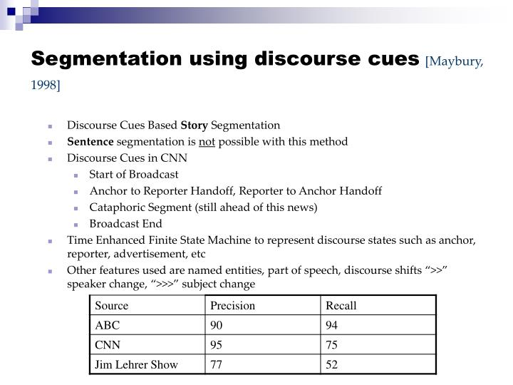Segmentation using discourse cues