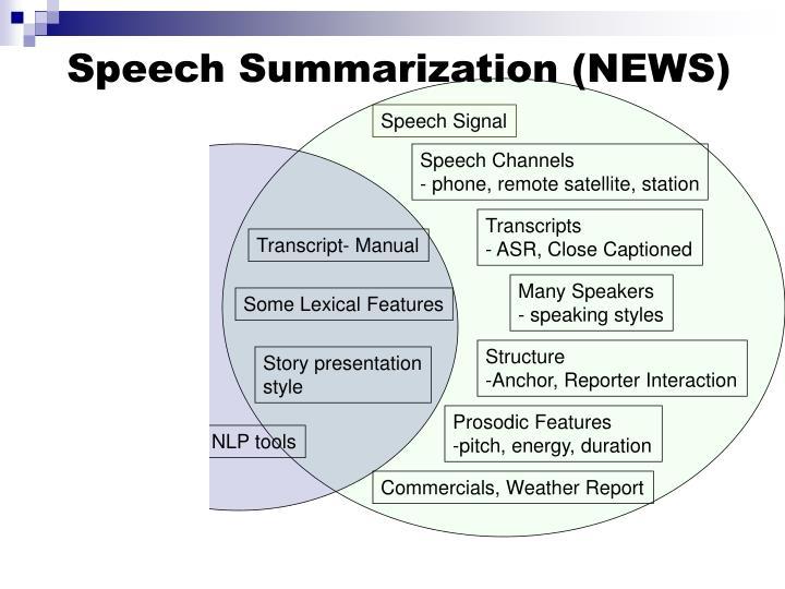 Speech Summarization (NEWS)