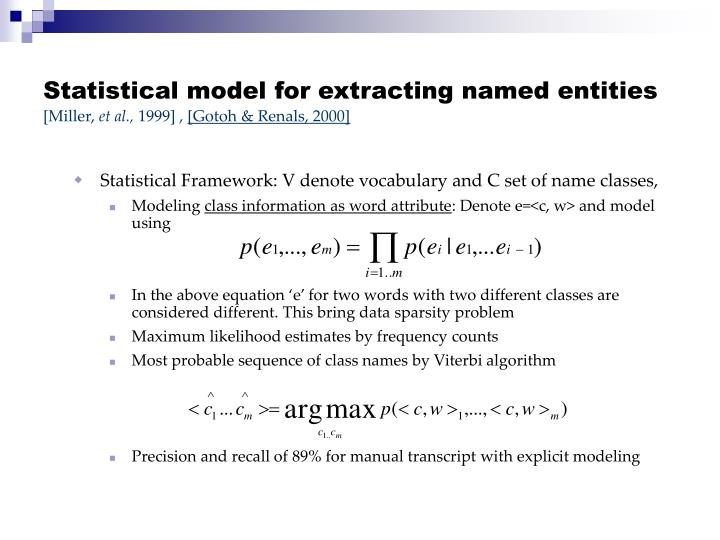 Statistical model for extracting named entities