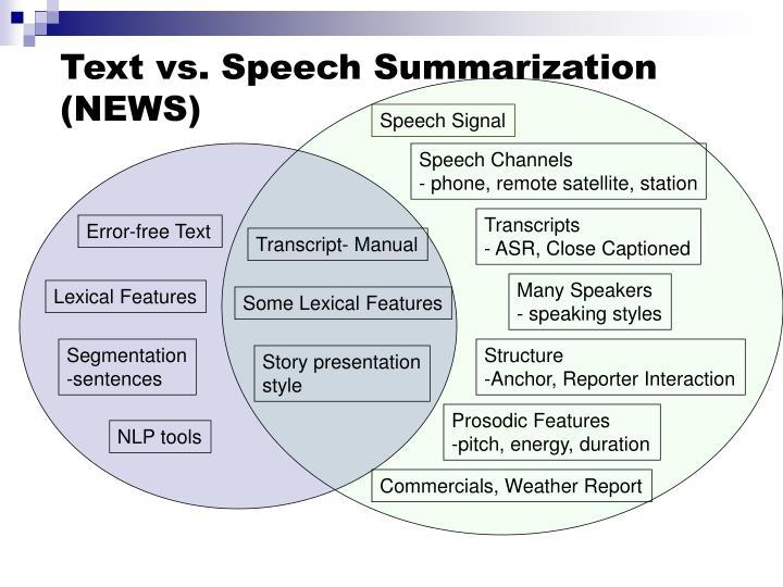 Text vs. Speech Summarization (NEWS)
