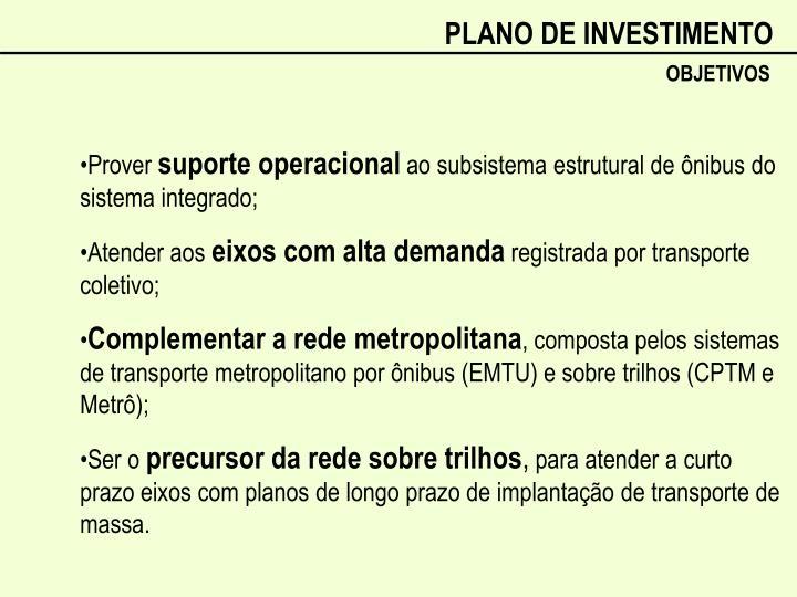 PLANO DE INVESTIMENTO