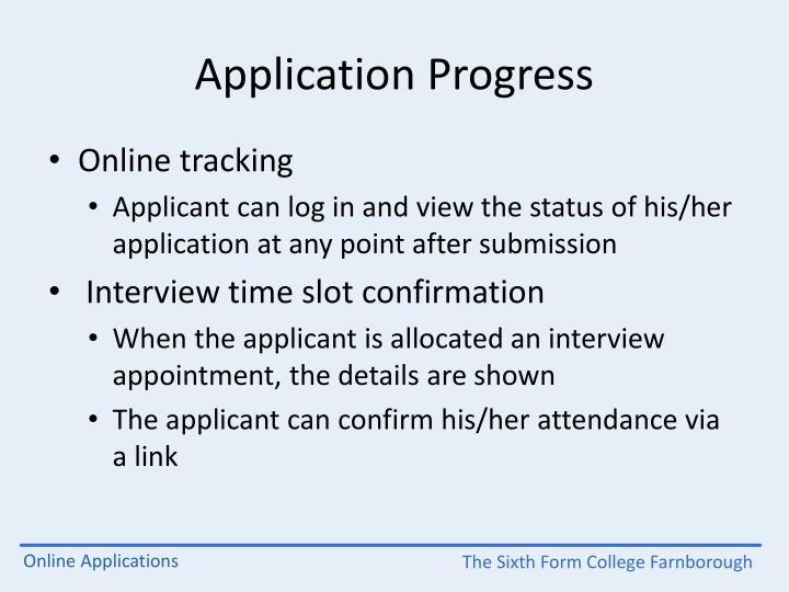 Application Progress