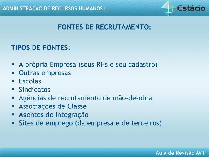 FONTES DE RECRUTAMENTO: