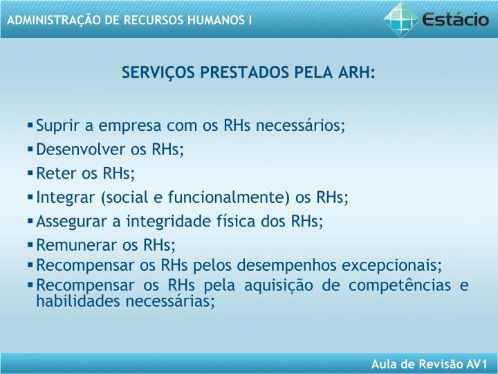 SERVIÇOS PRESTADOS PELA ARH: