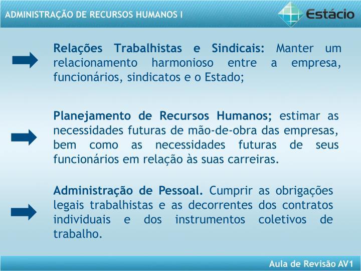 Planejamento de Recursos Humanos;
