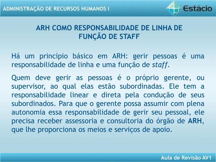 ARH COMO RESPONSABILIDADE DE LINHA DE