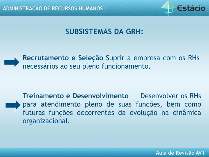 SUBSISTEMAS DA GRH: