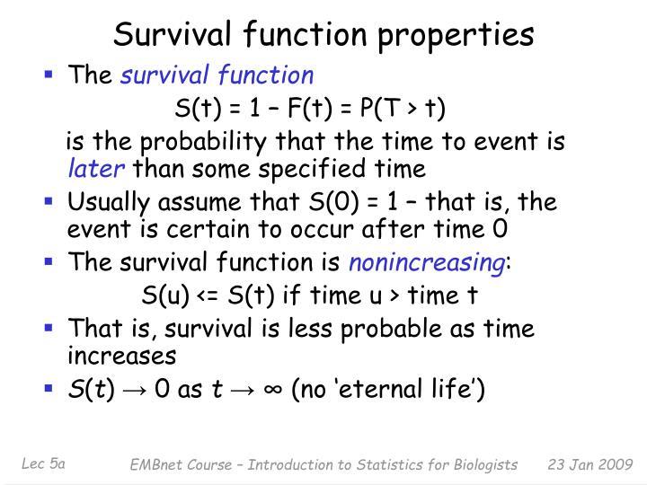 Survival function properties