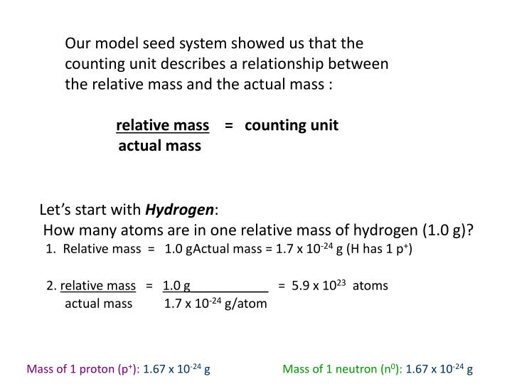 Our model seed system showed us that the counting unit describes a relationship between the relative mass and the actual mass :
