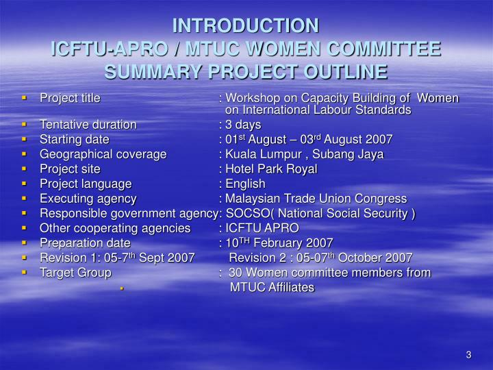 Introduction icftu apro mtuc women committee summary project outline