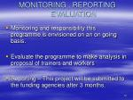 monitoring reporting evaluation