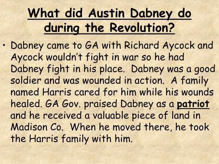 What did Austin Dabney do during the Revolution?