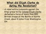 what did elijah clarke do during the revolution