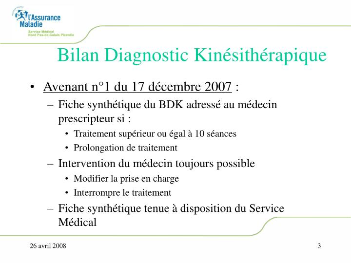 Bilan Diagnostic Kinésithérapique