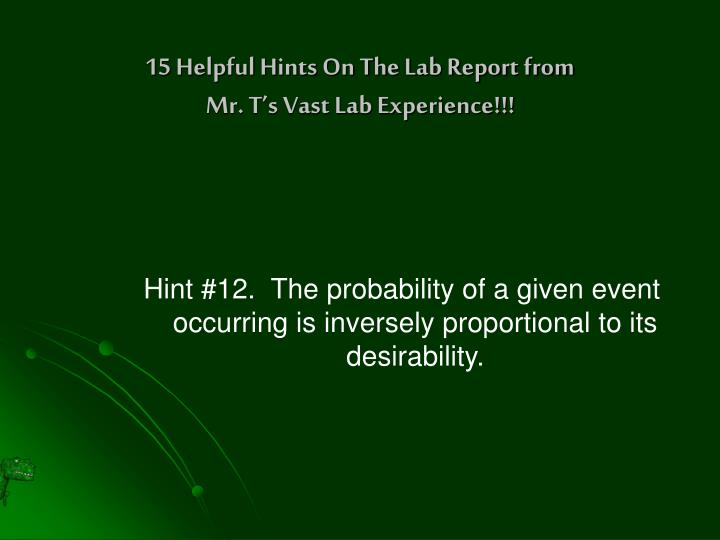 15 Helpful Hints On The Lab Report from