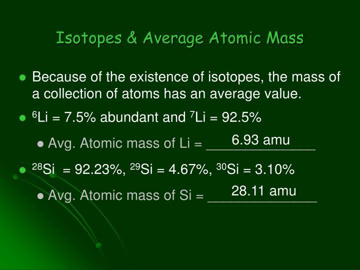 Isotopes & Average Atomic Mass