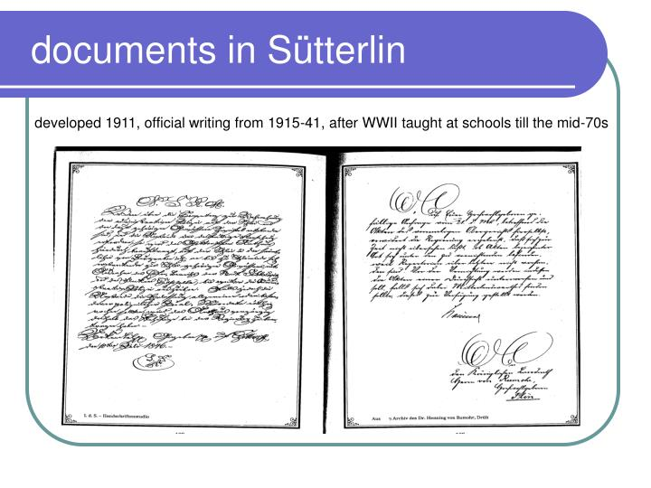 documents in Sütterlin