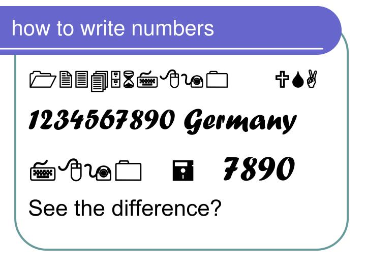 how to write numbers