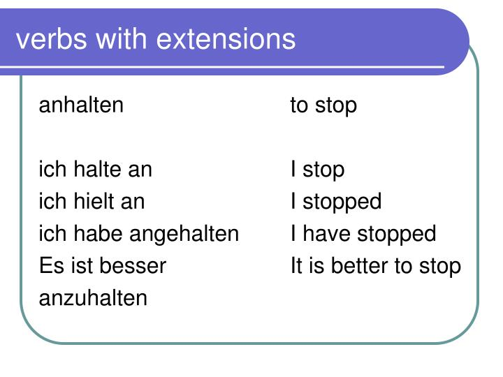 verbs with extensions