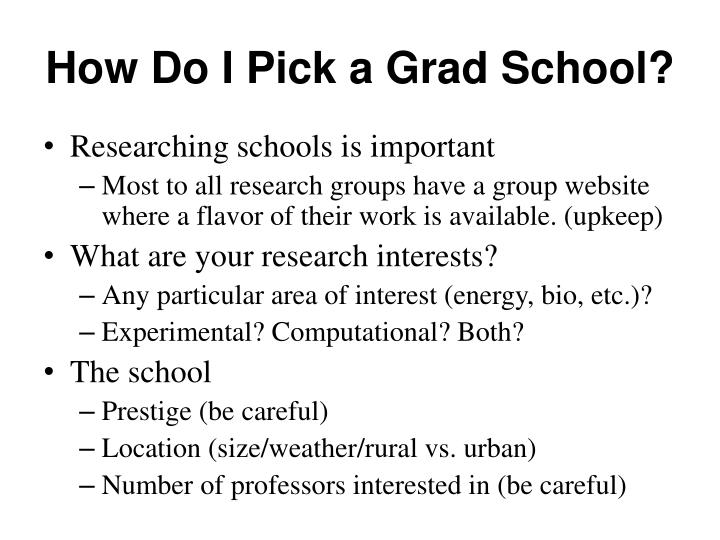 How Do I Pick a Grad School?