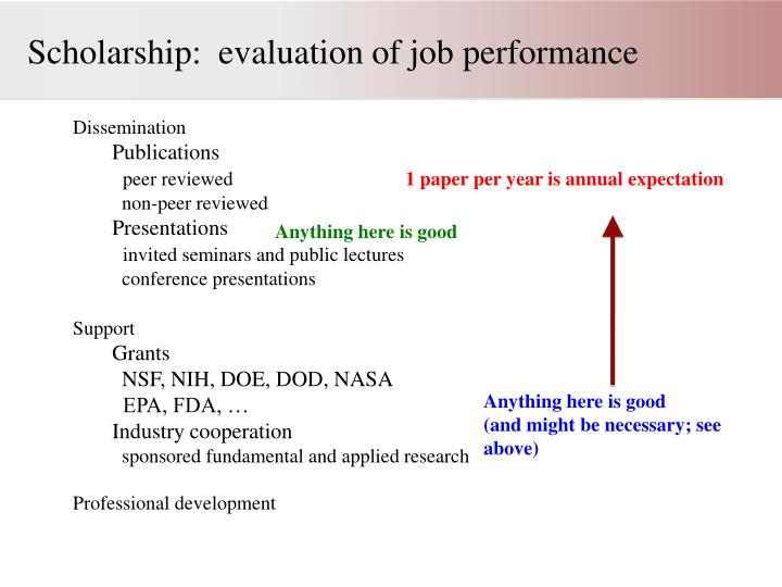 Scholarship:  evaluation of job performance