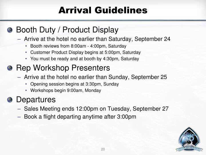 Arrival Guidelines