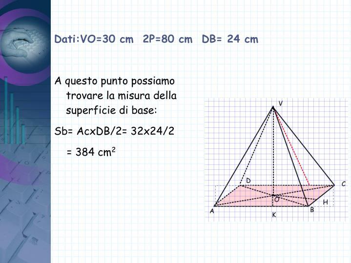 Dati:VO=30 cm  2P=80 cm  DB= 24 cm