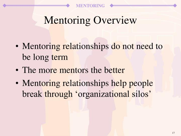 Mentoring relationships do not need to be long term