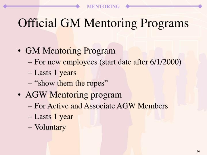 GM Mentoring Program
