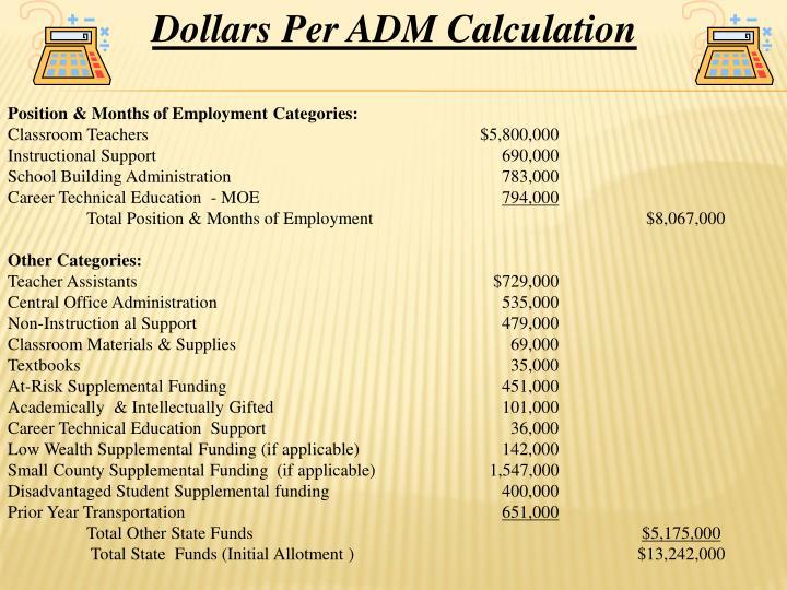Dollars Per ADM Calculation