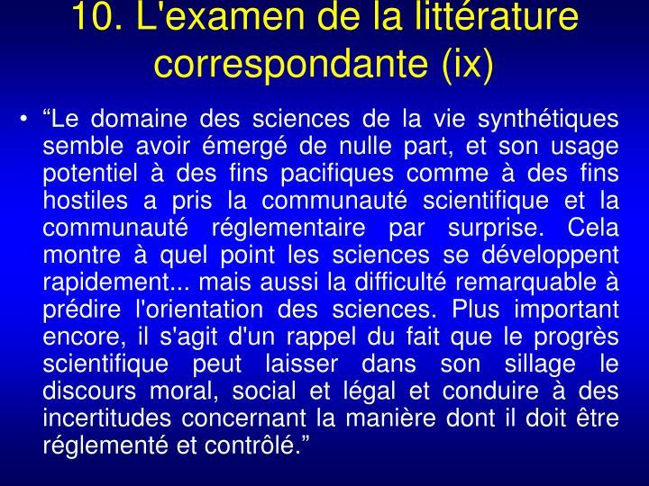 10. L'examen de la littérature correspondante (ix)