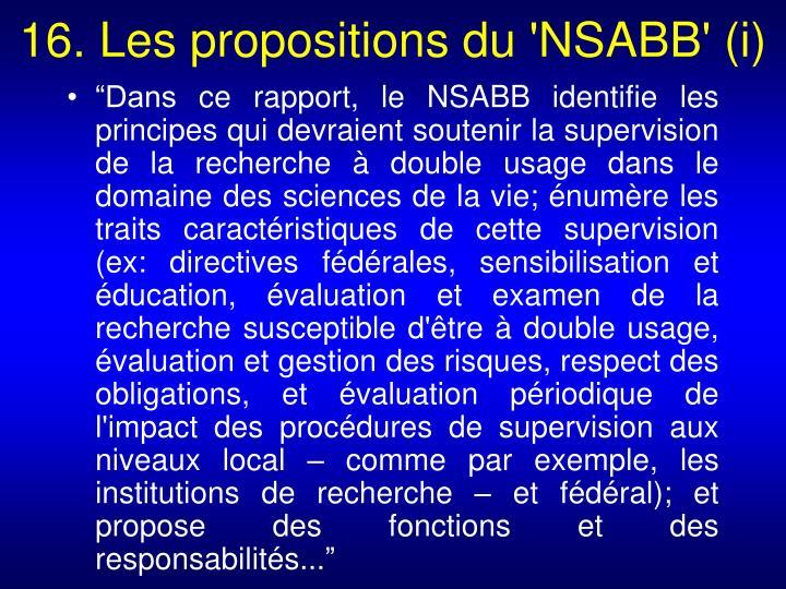 16. Les propositions du 'NSABB' (i)