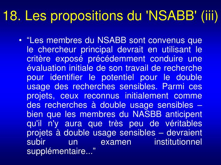 18. Les propositions du 'NSABB' (iii)