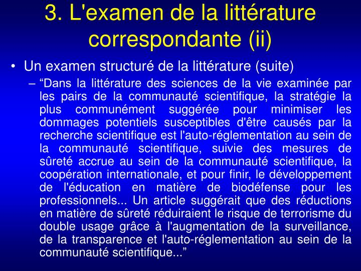 3. L'examen de la littérature correspondante (ii)