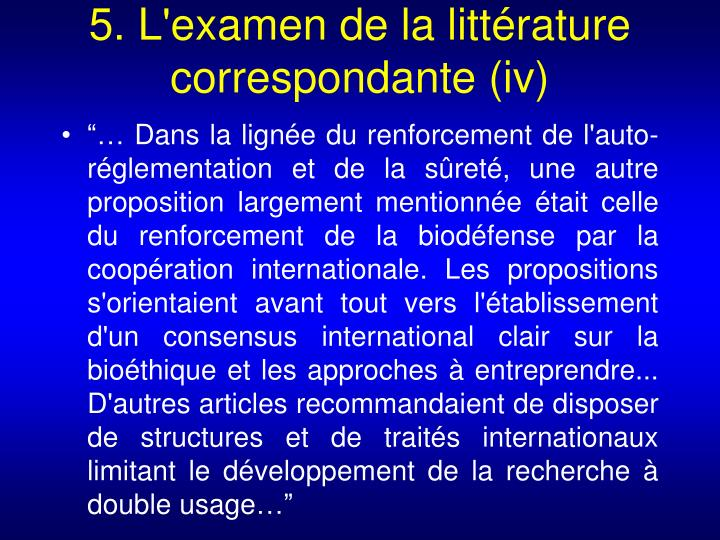 5. L'examen de la littérature correspondante (iv)