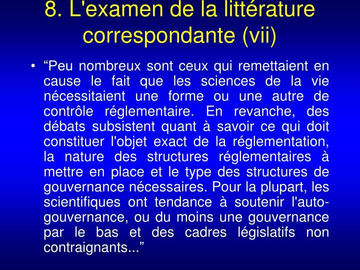 8. L'examen de la littérature correspondante (vii)