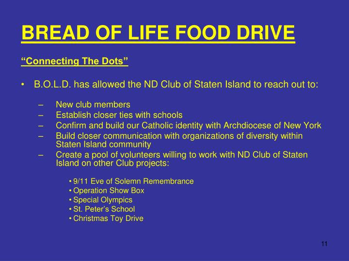 BREAD OF LIFE FOOD DRIVE