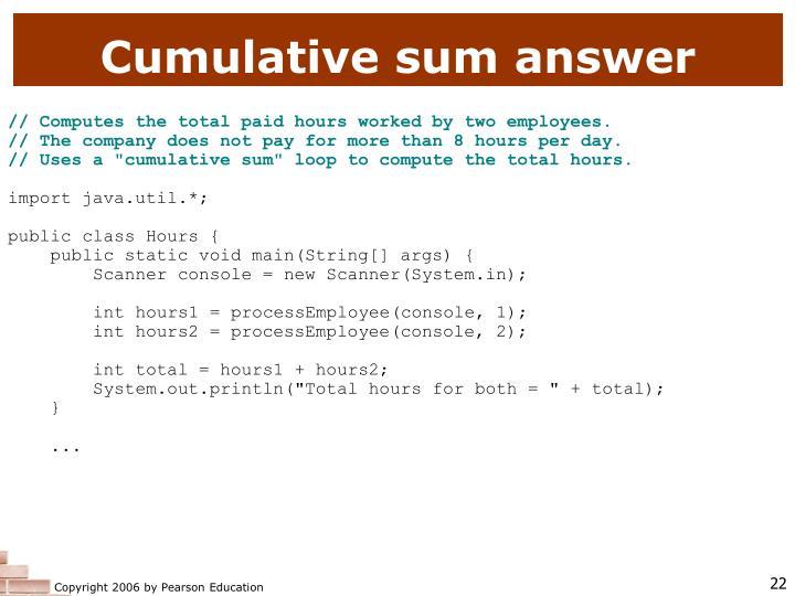 Cumulative sum answer