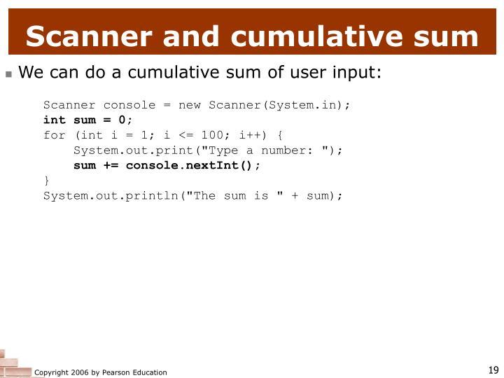 Scanner and cumulative sum