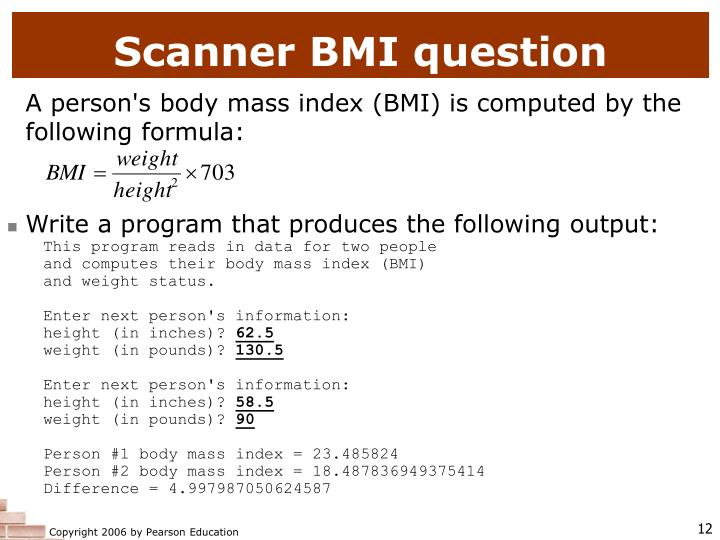 Scanner BMI question