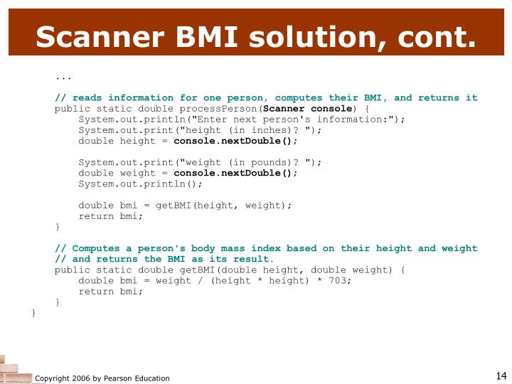 Scanner BMI solution, cont.