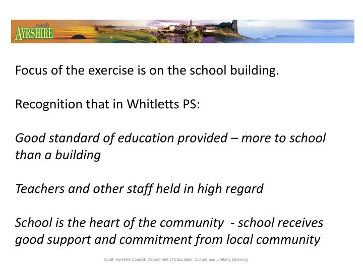 Focus of the exercise is on the school building.