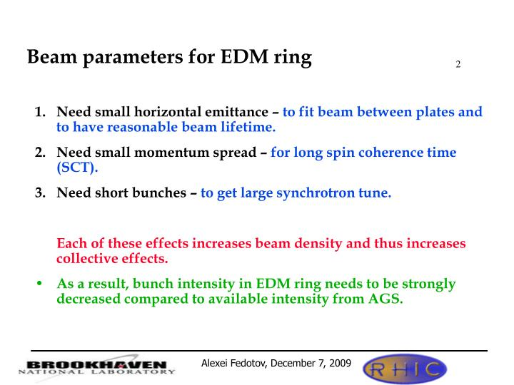 Beam parameters for EDM ring