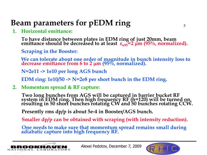 Beam parameters for pEDM ring