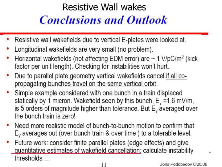 Resistive Wall wakes