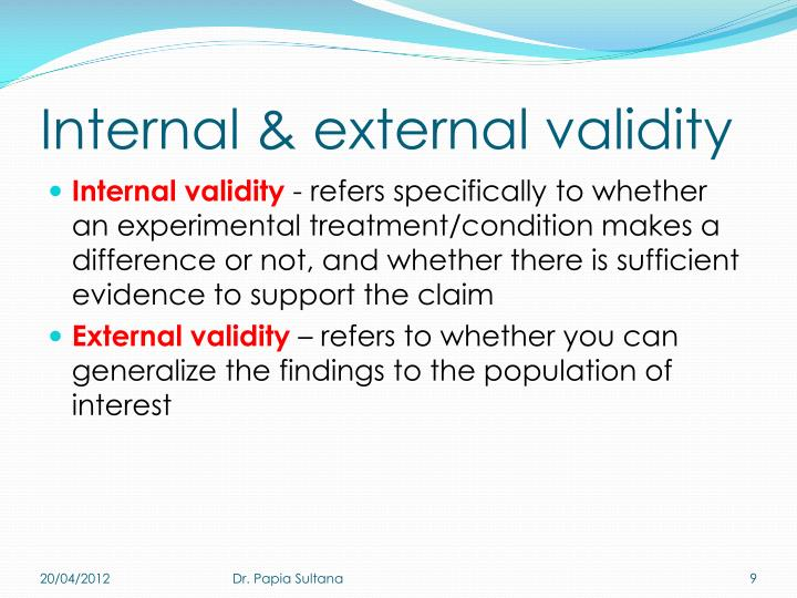 Internal & external validity