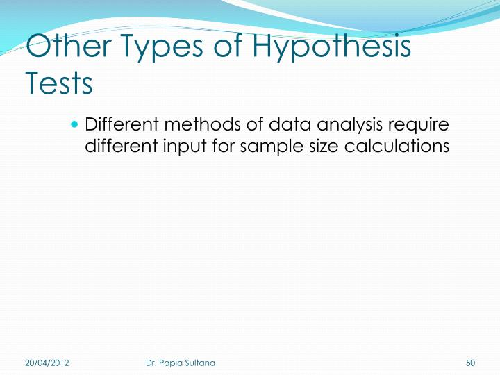 Other Types of Hypothesis Tests