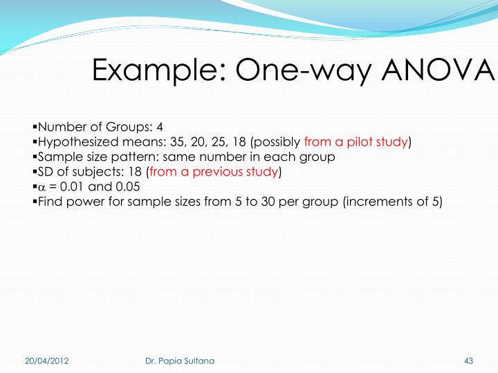 Example: One-way ANOVA